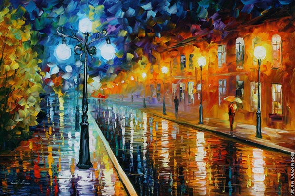 Blue lights (Afremov)