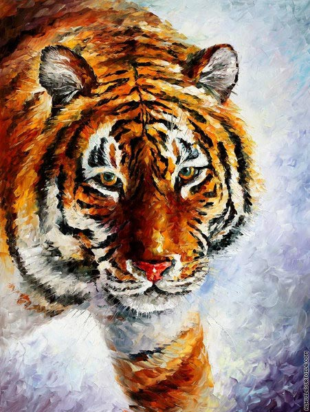 Tiger on the snow (Afremov)