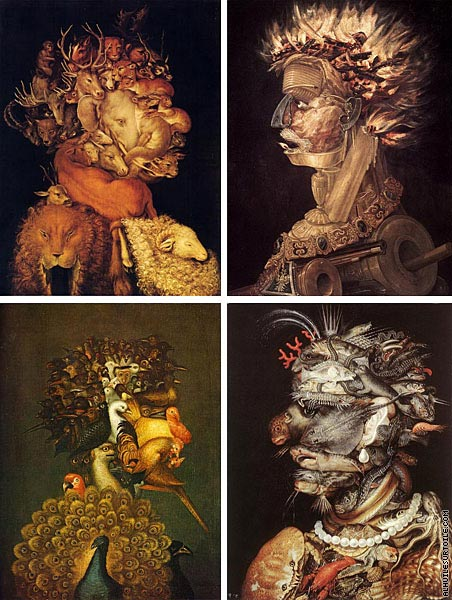 reproduction du tableau quadriptyque les 4 l ments arcimboldo. Black Bedroom Furniture Sets. Home Design Ideas
