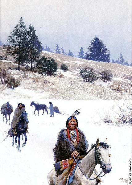 Indians in Winter - Moving Camp (Farny)