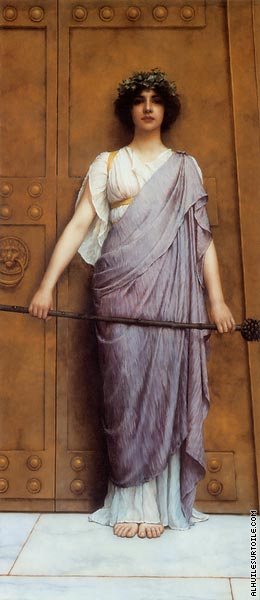 The priestess of Bacchus at the gate of the temple (Godward)