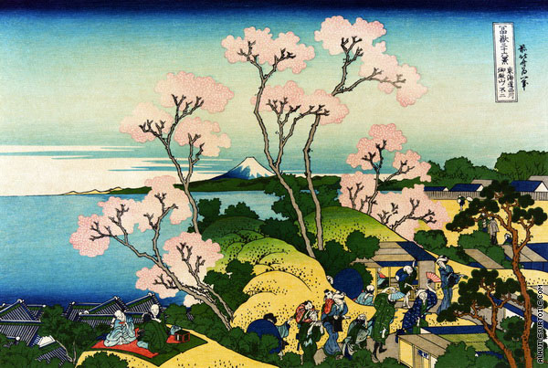 Goten-Yama Hill - Shinagawa on the Tokaido - 36 Views of Mount Fuji (Hokusai)