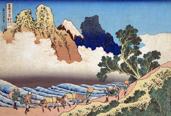 View from the other side of Fuji from the Minobu River - 36 Views of Mount Fuji (Hokusai)