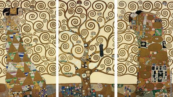 reproduction du tableau triptyque de l arbre de vie klimt. Black Bedroom Furniture Sets. Home Design Ideas