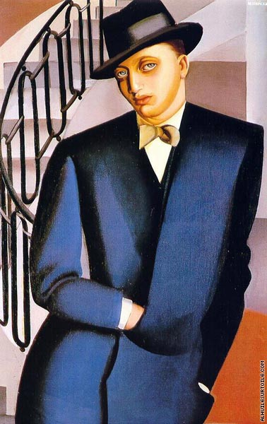 The Marquis D'Afflitto on a Staircase (Lempicka)
