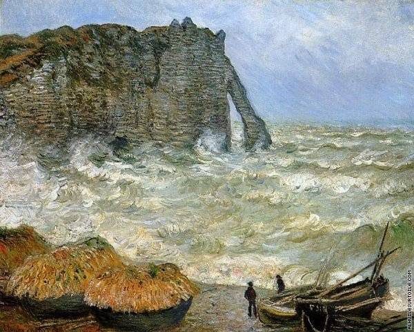 Etretat - Rough Seas (Monet)