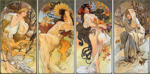 Quadriptych Chocolat Mexicain Masson (Mucha)