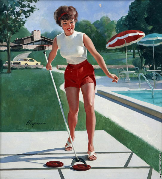 Girl playing Shuffleboard (Elvgren)