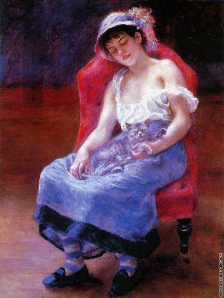 Fille dormant avec un chat (Renoir)