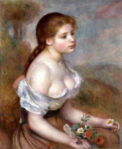 reproduction du tableau la jeune fille aux fleurs renoir