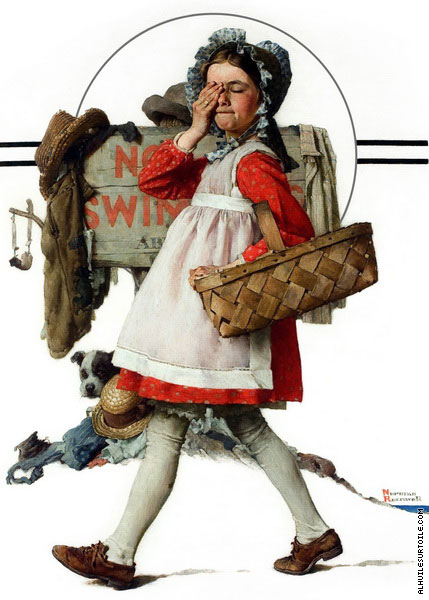 Girl with Picnic Basket Going Swimming (Rockwell)