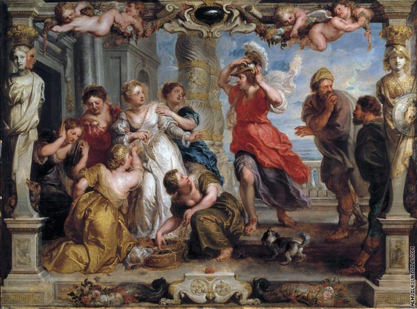Achilles discovered by Ulysses among the daughters of Lycomedes (Rubens)