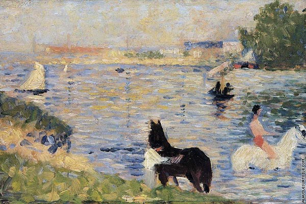Bathing at Asnieres - Horses in the Water (Seurat)