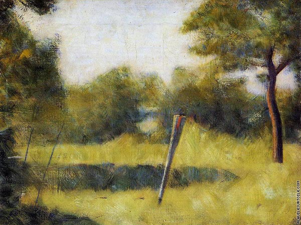 The Clearing - Landscape with a Stake (Seurat)
