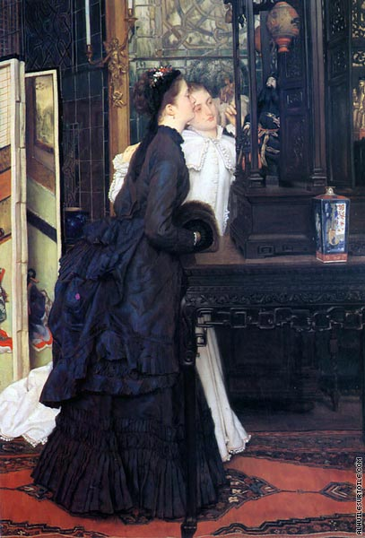 Young Ladies Looking at Japanese Objects (Tissot)