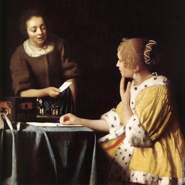Lady with her maid servant holding a letter (Vermeer)
