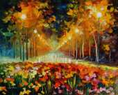 Alley of roses (Afremov)