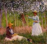 Suzanne reading and Blanche painting by the Marsh at Giverny (Monet)