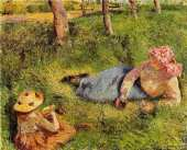 The snack child and young peasant at rest (Pissarro)