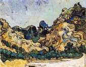 Mountains at Saint Remy with Dark Cottage (Van Gogh)
