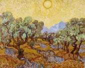 Olive trees with yellow sky and sun (Van Gogh)